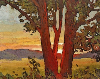 "Mission Arts and Crafts CRAFTSMAN - Matted Giclee Fine Art Print ""Days End"" Sunset 11x14 by Jan Schmuckal"