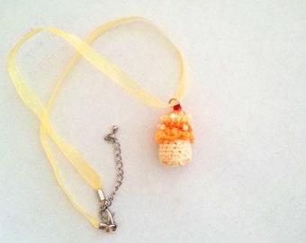 Miniature Cupcake Pendant Orange and Yellow