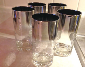 Silver Fading Queen's Lusterware Ombre Glasses Dorothy Thorpe FIVE 12 ounce