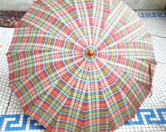 Vintage Umbrella Lutice Handle PLAID!