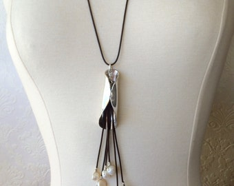 Pearl and Leather Fold Spoon Pendant