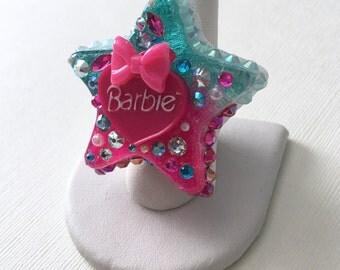 Aqua Hot Pink Barbie Kawaii Star Sparkle Ring