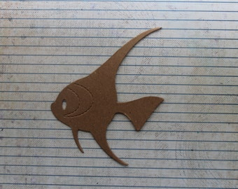 3 Bare chipboard angel fish diecuts 3 3/4 inch wide