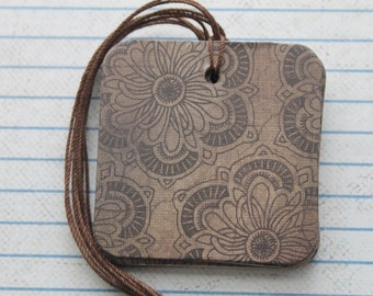 25 Gift tags Distresssed Brown floral paper over chipboard gift tags