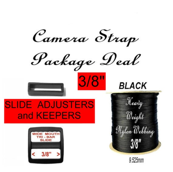 "Camera Strap Package Deal - 3/8"" - 20 SLIDES and 20 KEEPERS and 10 Yards Heavy Nylon Webbing - Your Choice of 1 Color"