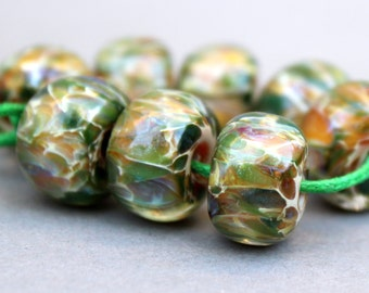 Borosilicate Beads Green and Tan Spotted Lampwork Beads