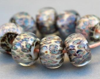 Boro Beads - Lampwork Beads - Metallic Blue, Green and Salmon and White