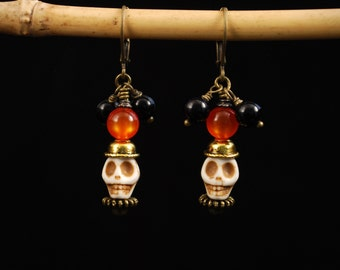 Dia de los Muertos, Day of The Dead, Skeleton Head Dangle Earrings, Halloween Skulls, Black and Orange, wiresNpliers, gemstone earrings