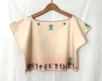 Brilliant on Top - One Size (S-XL) Think Green Man, Handmade women's crop top, hand dyed, block prints, upcycled, eco-clothing, boho chic