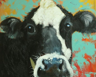 Cow painting 1159 24x24 inch animal original oil painting by Roz