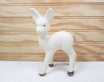 Vintage Fawn Deer Figurine White Ceramic Pottery Retro Mid Century Modern
