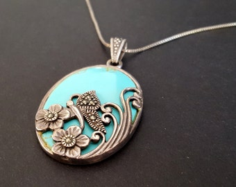 Sterling Silver Faux Turquoise Necklace {Marcasite Butterfly Floral Overlay Pendant 925 Whimsical Valentine's Day Christmas Gift}