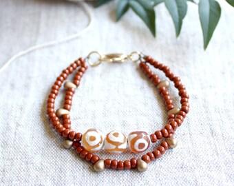 Semiprecious Stone Beaded Bracelet, Tanzanian Agate Bracelet, Stacking Bracelet, Beaded Friendship Bracelet, Boho Luxe, Matte Gold Beads