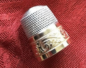 Vintage Sterling Silver Thimble with Swirl in Gold Overlay  Design  Marked Sterling