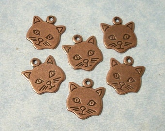 6 Ox Copper Cat Charms, Kitty Cat Stampings, Cat Head Charms, Cat Face, Scrapbooking Charms