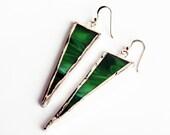 EARRINGS - Stained Glass Earrings - Triangle Earrings - St. Patrick's Day