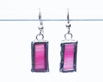 EARRINGS- Stained Glass Earrings, Pink Glass Earrings