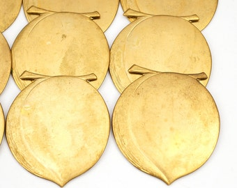 9 pcs brass peach stampings, large vintage bright metal, 41mm