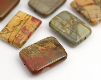 Red creek jasper beads, rectangular flat multicolor stone 20mm, 10 pcs