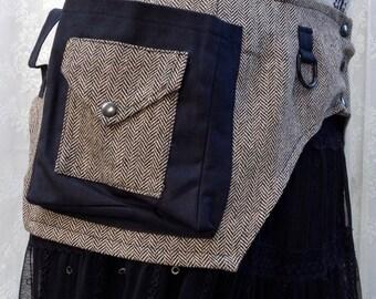 Tweed utility belt - black utility belt pocket belt - desert festival belt - steampunk utility belt - Medium