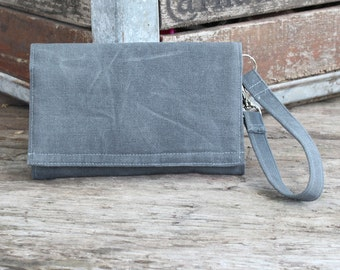 Cell Phone Wallet Wristlet Waxed Canvas Wallet Wristlet with Removable Strap - iPhone 6 Wristlet, Galaxy, Lg, Nexus / Dark Gray Waxed Canvas