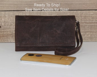 Cell Phone Wallet Wristlet, Ready To Ship, Fits Droid Maxx 2 Turbo 2 Galaxy S7, S7 Edge LgG4 and More Smart Wallet, Dk Brown Waxed Canvas