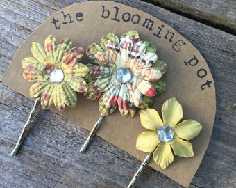 Olive Green and Yellow Flower Bobby Pins