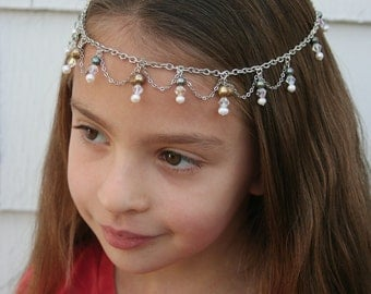 Princess of Pearls Faerie Circlet - Blue, White & Gold Pearls, Glass Crystal - Belly Dance, Wedding, Renaissance or Costume Accessory