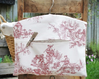 Clothespin Bag, Peg Bag in Blue or Red French Toile Print Cotton Fabric