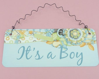 IT'S A BOY Sign    Baby Shower Gift, Wreath Decoration, Gender Reveal Party, Nursery Room Decor, Blue Pastels   Table Centerpiece Aluminum