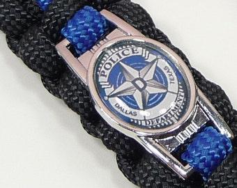 DALLAS POLICE PARACORD Bracelet | Thin Blue Line | Dallas Texas Police Dept | Black Blue | Badge Gold Silver | Law Enforcement | Officer
