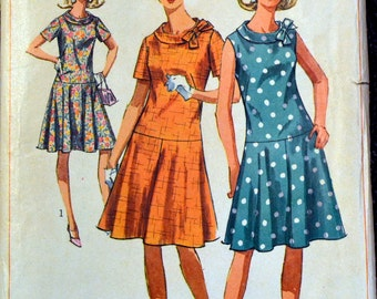 Vintage 1960's  Sewing Pattern Simplicity 6985 Misses' Drop Waist Dress with Roll Collar  Bust 35 inches Complete