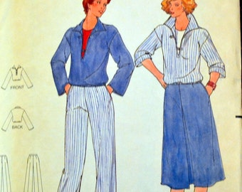 Vintage 1970's Sewing Pattern Butterick 5883 Misses'  Top, Skirt, and Pants Sizes 14  Bust 36 inches Complete UNCUT