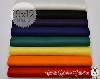 Classic Rainbow Collection, Wool Blend Felt, Wool Felt Sheets, Wool Felt Fabric, Felt Fabric Bundle, Wool Felt Bundles, Felt Collections