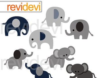 Elephant clipart commercial use - Gray, donker blue elephant digital clip art - elephant graphics grey - instant download
