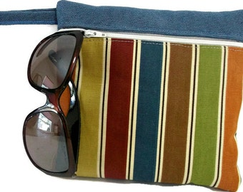 Striped Makeup Bag , Purse Organizer , Make Up Organizer , Canvas Bag ,  Travel Organizer , Travel Pouch , Purse Wallet , Clutch Purse