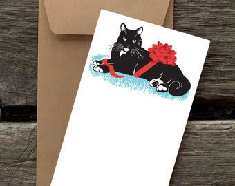 Tuxedo Cat with Ribbon -- 8 Blank flat cards and envelopes
