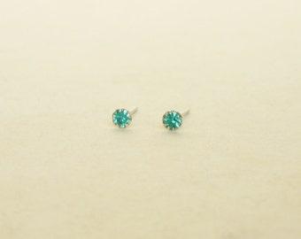 2.5 mm - Tiny Blue  Zircon Crystal Rhinestone Cartilage Ear Studs- 925 Sterling Silver Earrings - Cartilage Earring Second Hole Earrings