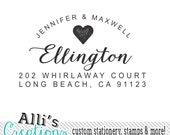 Couples Love Script font Self Inking Return Address Stamp with Heart - Wedding Invitation Stamp