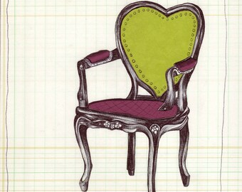Art Print- Office Art - Chair Art - Archival Art Print - Wall Art - 19th Century - Housewarming Gift - Mixed Media Art - Vintage style