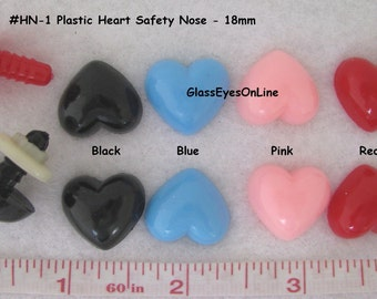 20pc. 18mm Heart Plastic Safety Noses, Buttons, Eyes with washers for Teddy Bears, Dolls, Fantasy Characters, Crochet, Sewing  HN-1