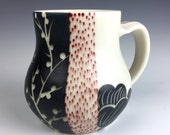 Reserved for Audrey:  Porcelain Mug with Peony, Red Droplets and Carved Branches