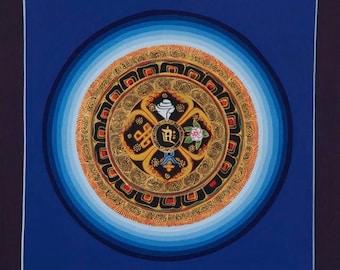 Original Mandala Thangka Painting from Nepal, Non-Profit, Traditional, Hand Painted Mandala