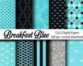 Breakfast Blue Digital Paper Backgrounds - 12x12 - Digital Paper Backgrounds - Wedding Supply-Breakfast at Tiffany - Instant Download