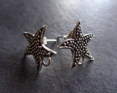 Solid Sterling Silver Starfish Earring Posts - oxidized dotted texture