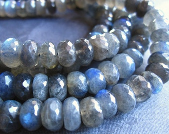 Labradorite beads medium Blue FIre faceted rondelles stone 7mm X 5mm - 8 inches