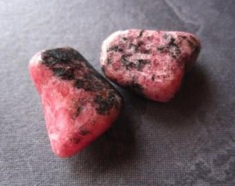 2 Rhodonite - tumbled pocket meditation stones