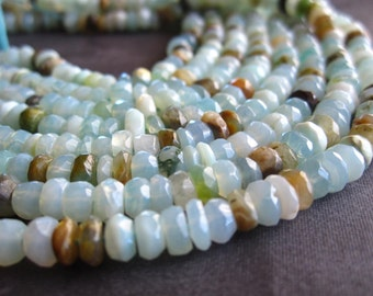 Peruvian Opal stone beads faceted rondelles - 6 1/2 inches - 5mm X 3mm