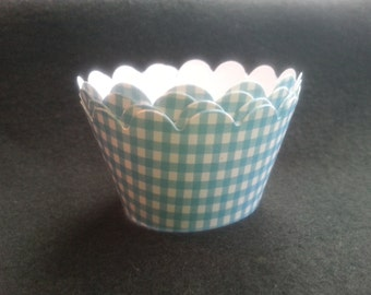 Custom Gingham Cupcake Wrappers- Choose from 32 Colors