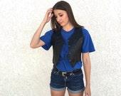 Vintage XS Black Leather biker vest